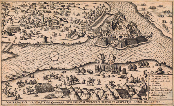 Stredoeurópsky grafik zo 16. storočia – Pohľad na pevnosť Komárno