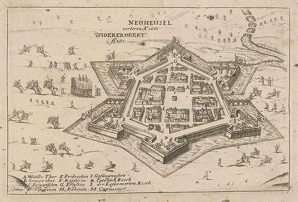 Stredoeurópsky grafik z 1. polovice 17. storočia, Wilhelm Dilich - Obliehanie pevnosti Nové Zámky