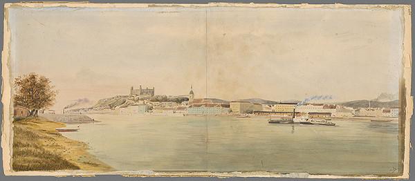 Stredoeurópsky grafik z 19. storočia - Pohľad na Bratislavu z pravého brehu Dunaja