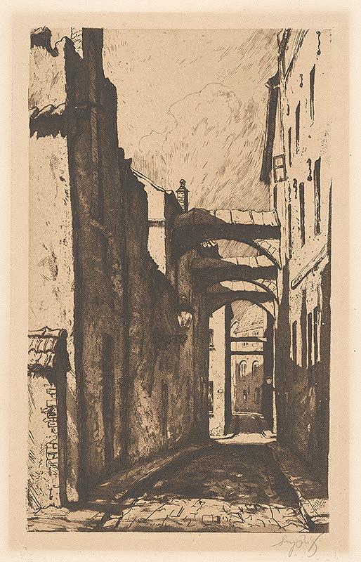 Stredoeurópsky grafik z 1. polovice 20. storočia - Baštová ulica v Bratislave
