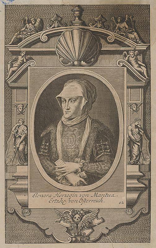 Stredoeurópsky grafik z 18. storočia - Portrét Eleonóry-vojvodkyne Mantovskej, veľkovojvodkyne Rakúska