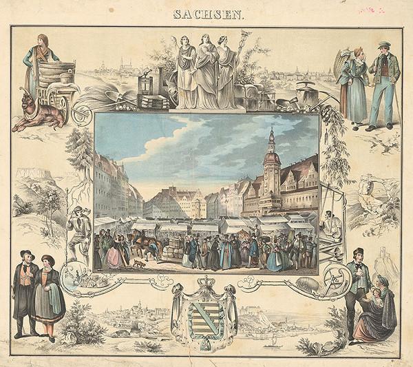 Nemecký grafik z 19. storočia – Trh na námestí v Sachsene
