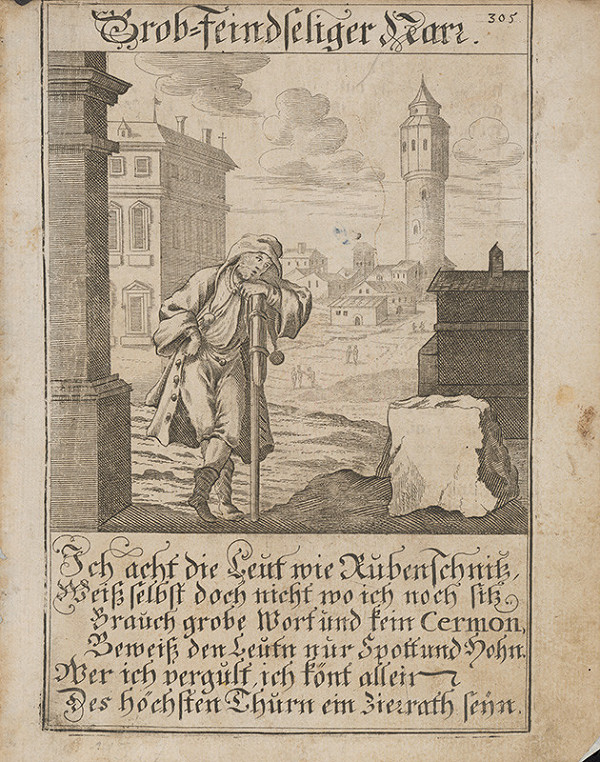 Nemecký grafik z 18. storočia - Neokrôchaný blázon
