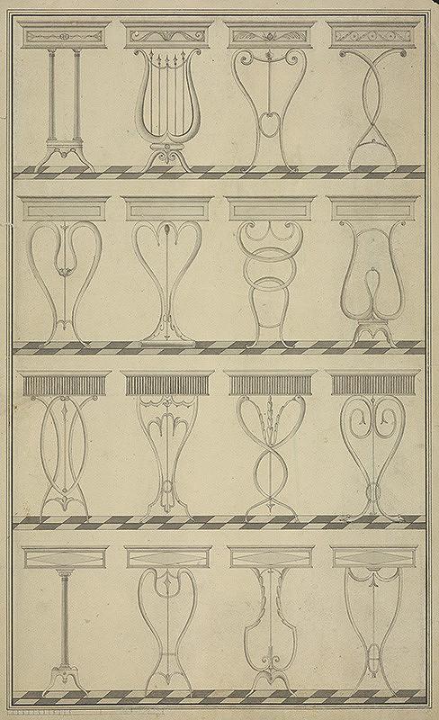 Stredoeurópsky grafik z 18. storočia – Nákres stolíkov
