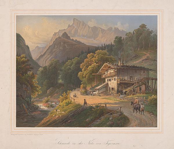 Stredoeurópsky grafik z 19. storočia - Kováčska dielňa v blízkosti Tegernsu