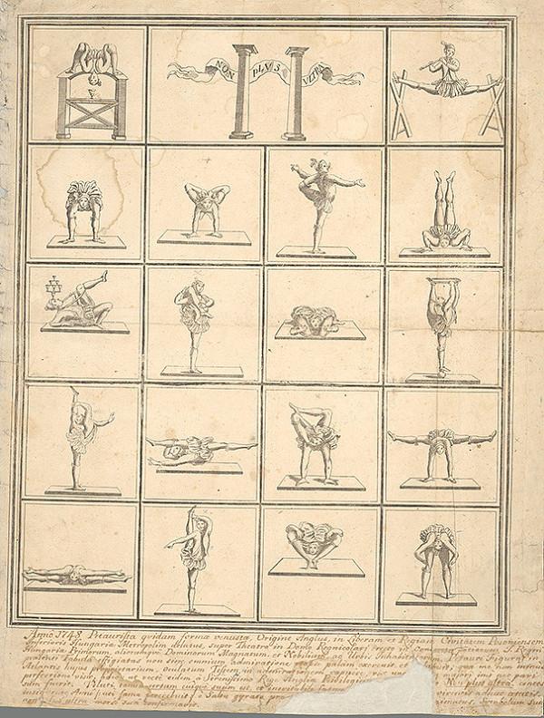 Stredoeurópsky grafik z 18. storočia – Ilustrácie akrobatických figúr