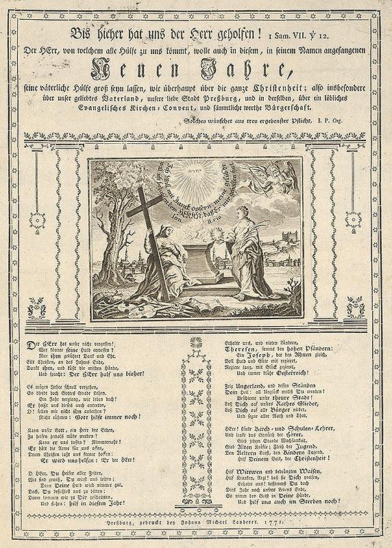 Stredoeurópsky grafik z 18. storočia, Johan Michal Landerer - Novoročné blahoželanie
