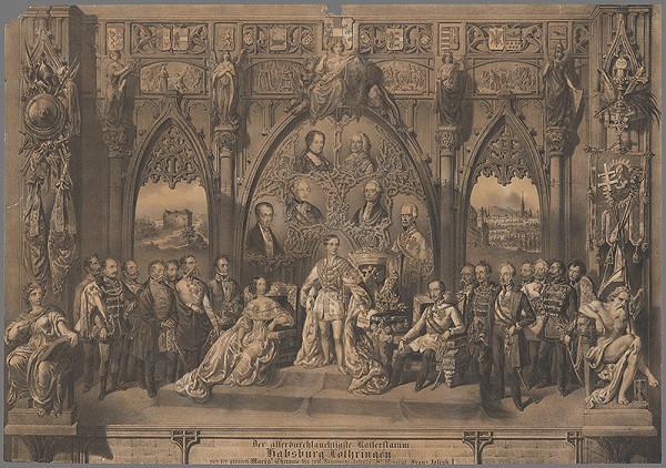 Rakúsky grafik z 19. storočia – Alegória na panovanie Františka Jozefa I.