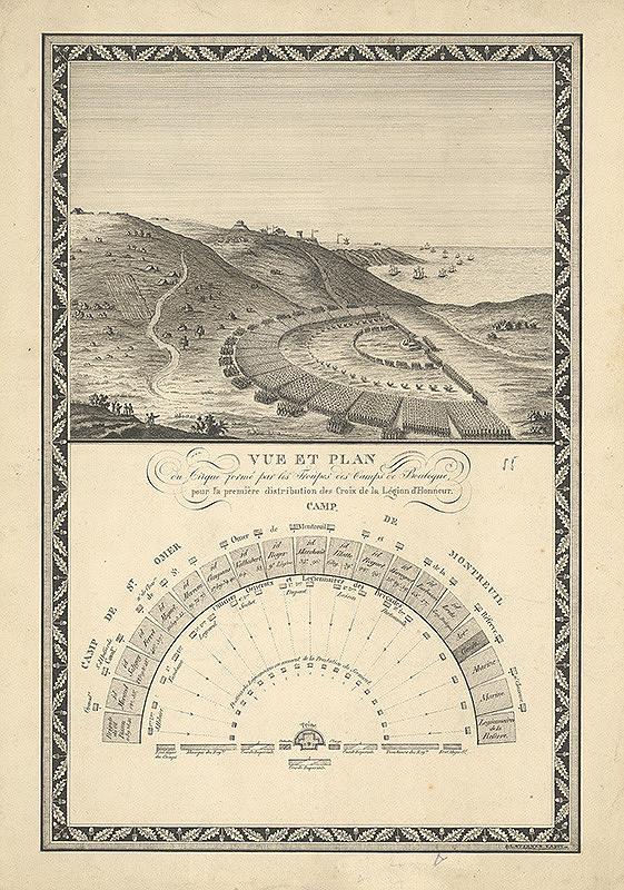 Stredoeurópsky grafik z 19. storočia - Plán a pohľad na prehliadku kráľovského vojska