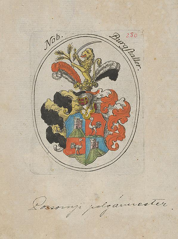 Stredoeurópsky grafik z 1. polovice 18. storočia – Erb Burgstallera richtára Bratislavy