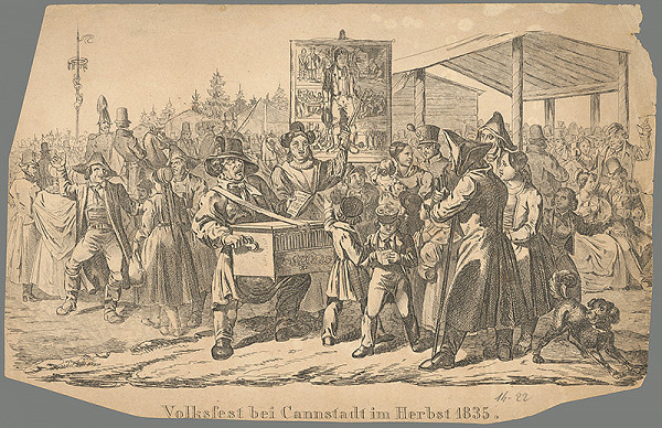 Nemecký grafik z 19. storočia – Ľudové oslavy pri Cannstadte