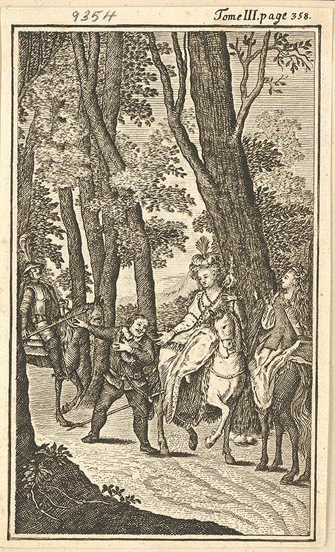 Stredoeurópsky grafik z konca 17. storočia - Sancho Panza v lese