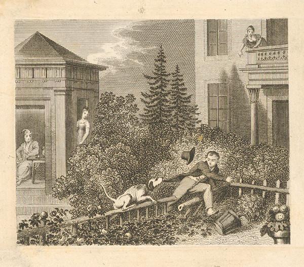 Stredoeurópsky grafik z 19. storočia - Útek muža zo záhrady