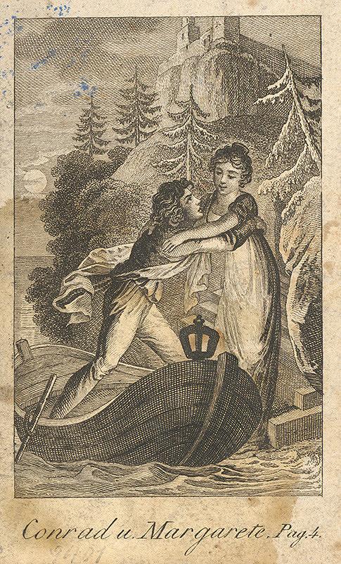 Nemecký grafik z 19. storočia – Konrád a Margaréta - únos