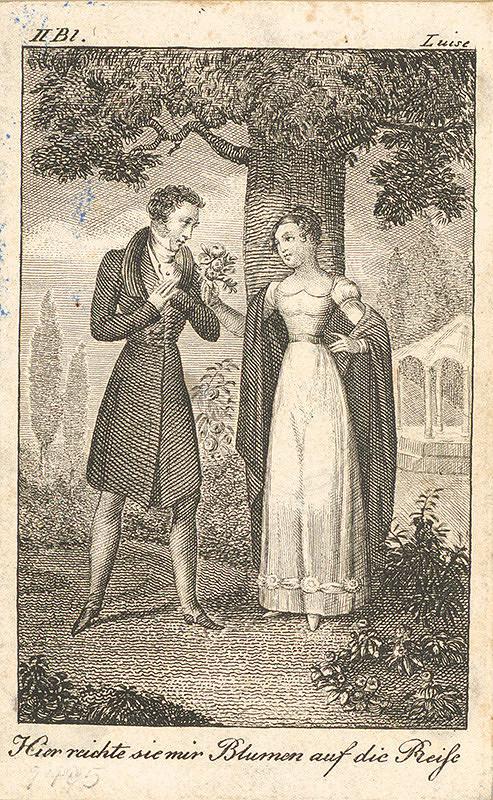 Nemecký grafik z 19. storočia – Lujza s milým v záhrade