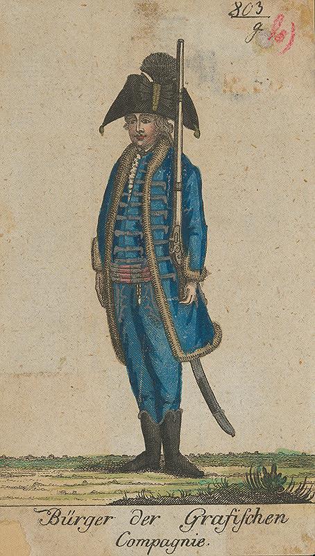 Stredoeurópsky grafik z 18. storočia - Vojenská uniforma grófskeho meštianskeho pluku