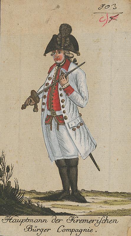 Stredoeurópsky grafik z 18. storočia – Vojenská uniforma meštianskeho pluku