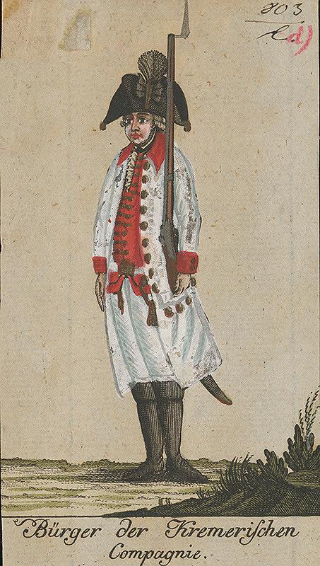 Stredoeurópsky grafik z 18. storočia – Mešťan vo vojenskej uniforme Kremerischského pluku