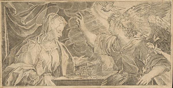Taliansky grafik zo 17. storočia - Zvestovanie Panne Márii