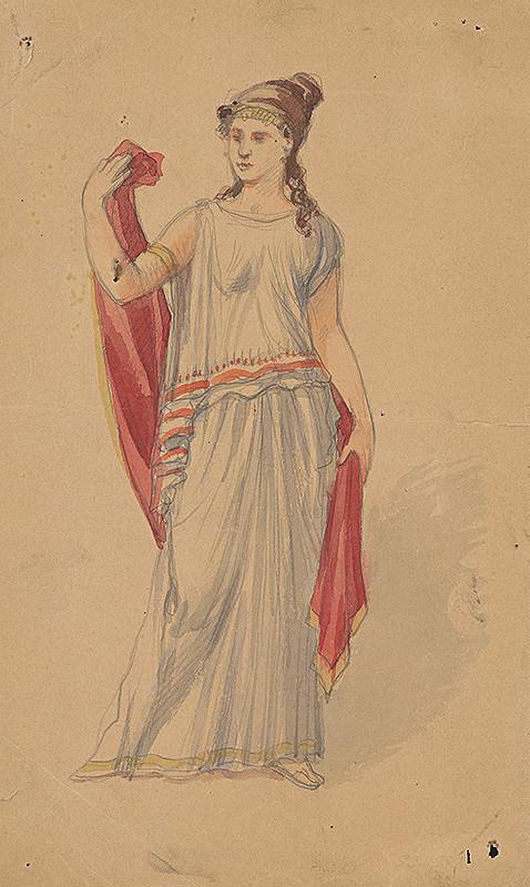 Stredoeurópsky grafik z 19. storočia – Grécka žena - štúdia
