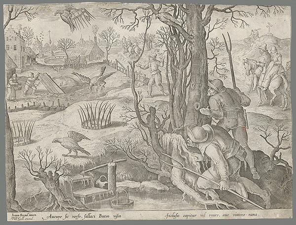 Philip Galle, Jan van der Straet, Neznámy rytec - Poľovačka na sokoly s pascami v zime (27)