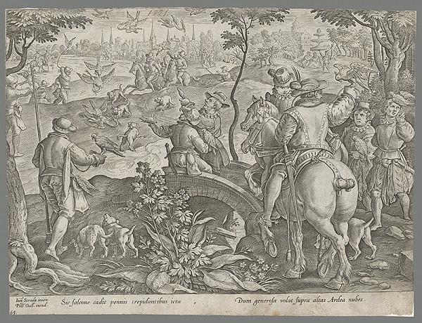 Philip Galle, Jan van der Straet, Neznámy rytec – Poľovačka so sokolmi (65)