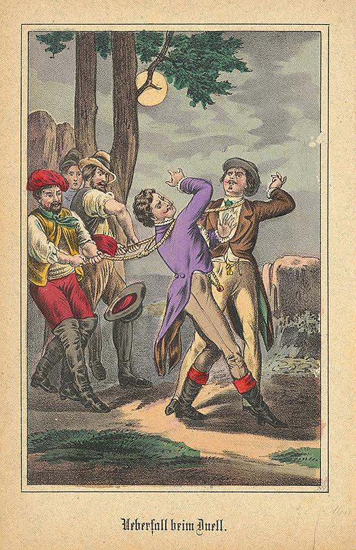 Nemecký grafik z 19. storočia – Prepadnutie pri súboji