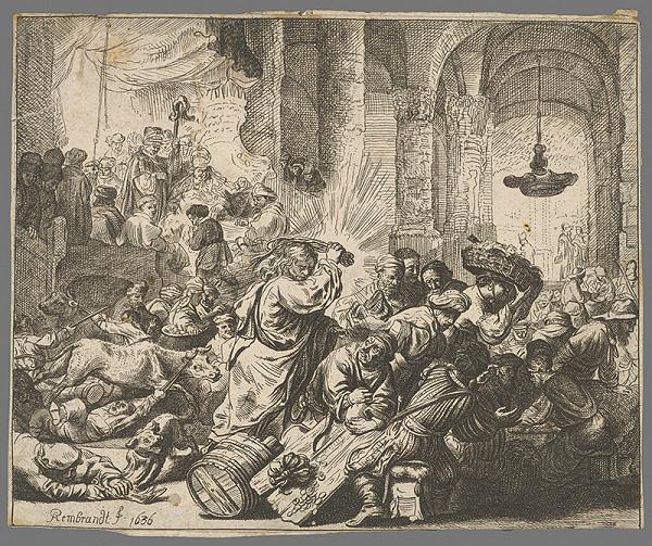 Rembrandt van Rijn - Ježiš vyháňa kupcov z kostola