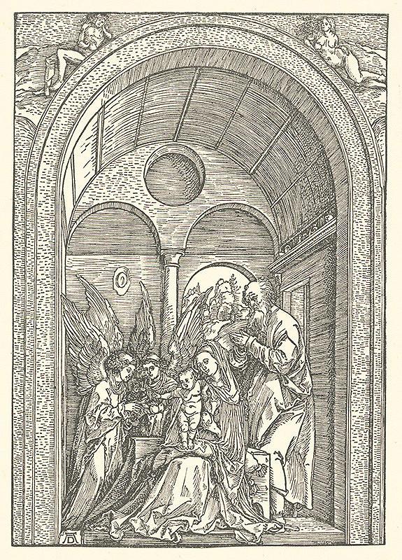 Albrecht Dürer – Svätá rodina s dvoma anjelmi v trojlodí
