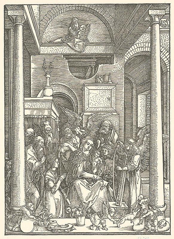 Albrecht Dürer - Panna Mária uctievaná anjelmi a svätcami (19)