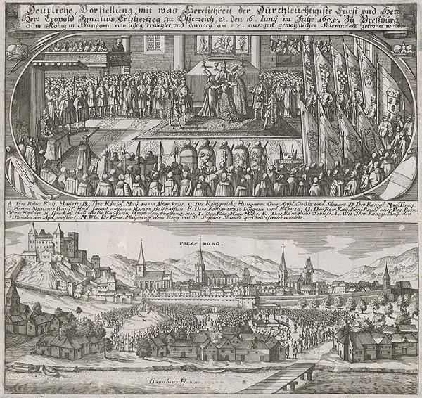 Romeyn de Hooghe, Philip Bouttats, Matthäus Merian st. – Korunovácia Leopolda I. v Bratislave v roku 1655 (dvojobraz)
