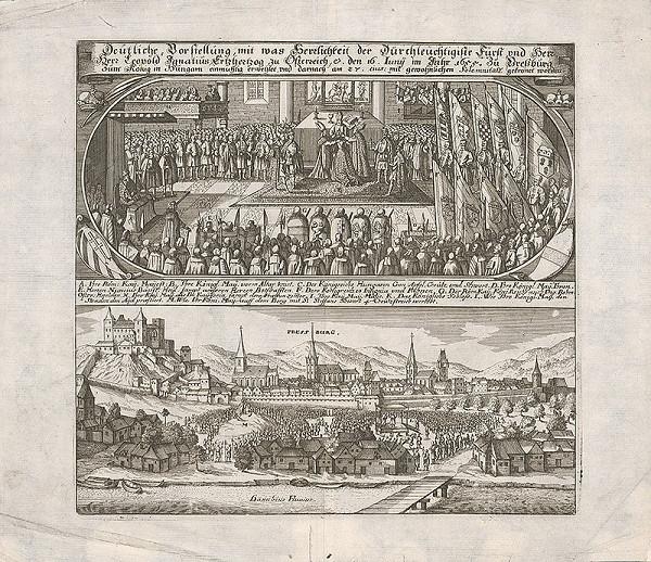 Romeyn de Hooghe, Philip Bouttats – Korunovácia Leopolda I. v Bratislave v roku 1655 a pohľad na Bratislavu z juhu