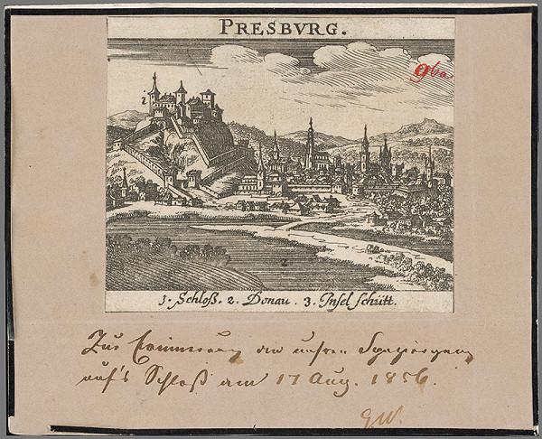 Stredoeurópsky grafik z 2. polovice 19. storočia – Bratislava z juhu