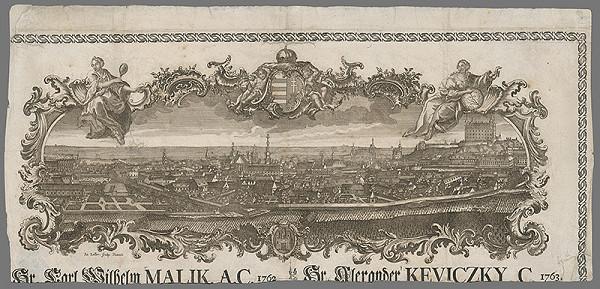 Sebastian Zeller – Pohľad na Bratislavu zo severu - hlavička cechovej listiny