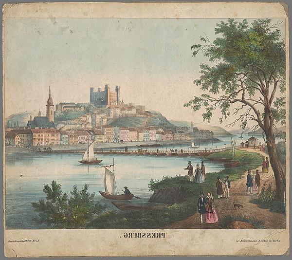 Nemecký grafik z 19. storočia – Pohľad na Bratislavu v 19. storočí