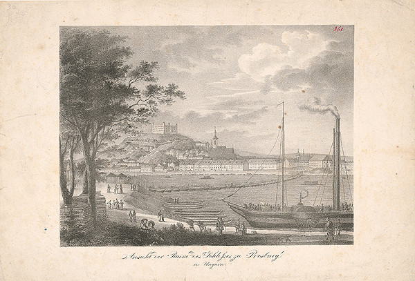 Stredoeurópsky grafik z 19. storočia - Pohľad na Bratislavu z juhovýchodu