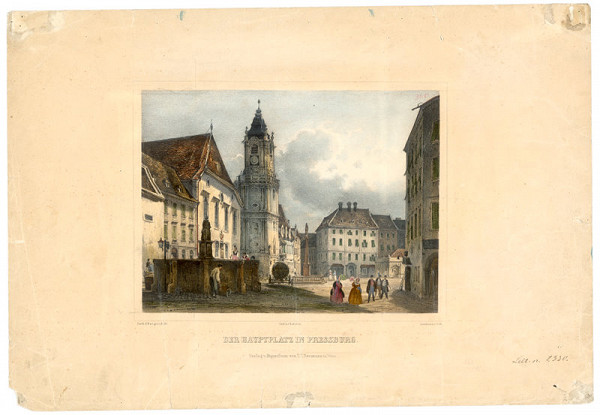 Rudolf Alt, Franz Josef Sandmann - Pohľad na Hlavné námestie v Bratislave