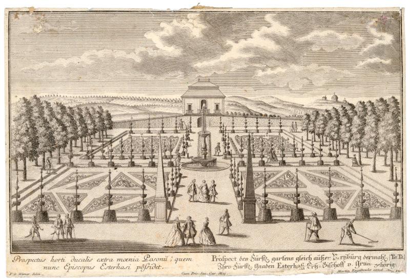 Friedrich Bernhard Werner, Martin Engelbrecht (vydavateľ) – Záhrada a letné sídlo arcibiskupa Esterházyho, okolo 1740, Galéria mesta Bratislavy