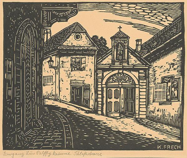Karol Frech – Vchod do Pálffyovskej kasárne a Zámocká ulica v Bratislave