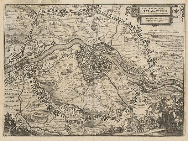 Stredoeurópsky grafik z 1. polovice 17. storočia - Obliehanie Mastrichu kniežaťom Henrichom z Vranova