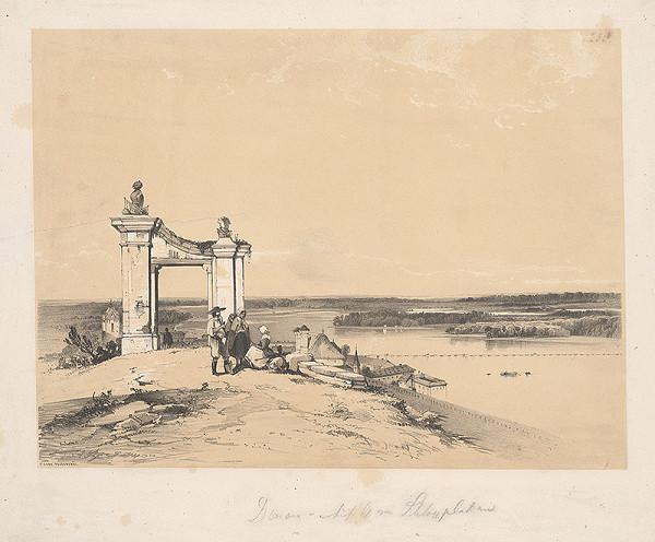 James Baker Pyne, George Edwards Hering – Pohľad na Dunaj a Tereziánsku bránu Bratislavského hradu