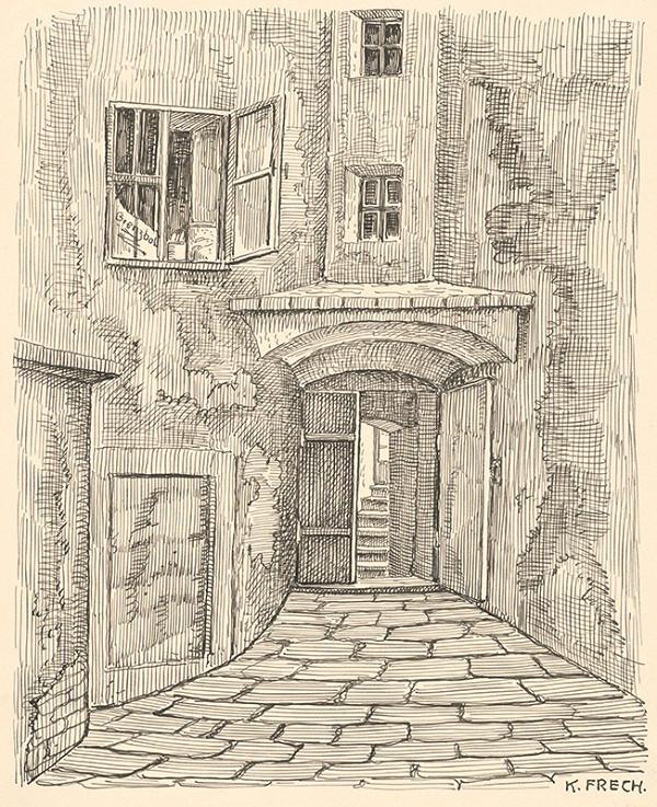 Karol Frech - Časť dvora a brána domu s Pekárskou vežou v Bratislave