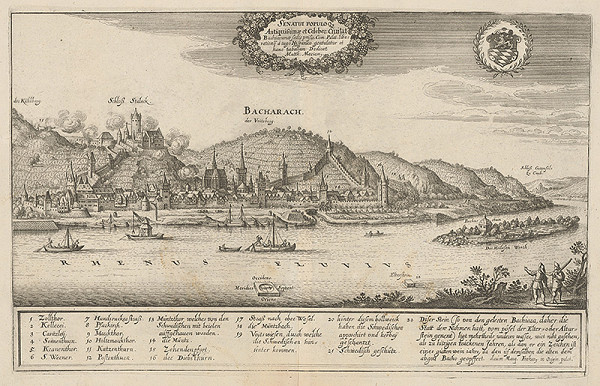 Matthäus Merian – Odstreľovanie Bacharalu švédskym vojskom