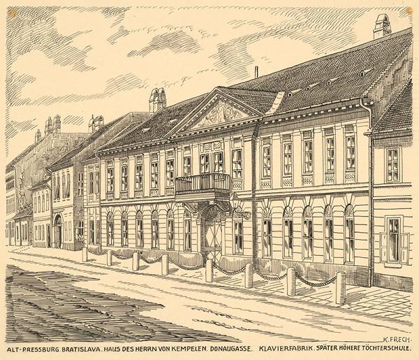 Karol Frech - Dom p. Kempelena na Dunajskej ulici v Bratislave