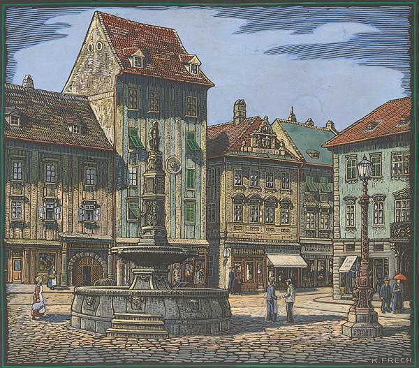 Karol Frech - Hlavné námestie s Maximiliánovou fontánou a tzv. zelený dom, podľa starej fotografie pred rokom 1883