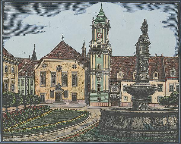 Karol Frech - Hlavné námestie, Stará radnica a kostol jezuitov