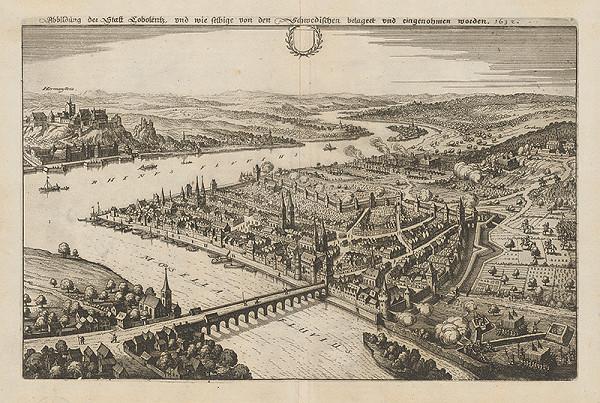 Nemecký grafik z 1. polovice 17. storočia - Obliehanie mesta Cobolentz švédskou armádou roku 1632