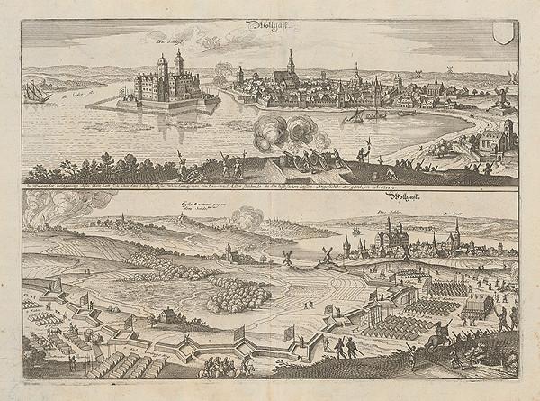 Stredoeurópsky grafik z 1. polovice 17. storočia - Obliehanie Wollgastu švédskym vojskom