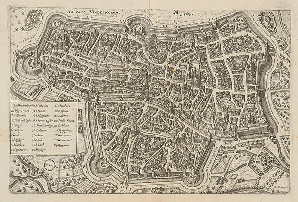 Matthäus Merian – Opevnenie Augsburgu