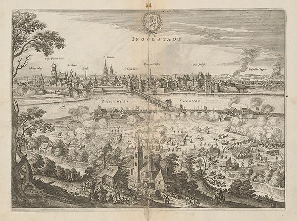Stredoeurópsky grafik z 1. polovice 17. storočia - Obliehanie Ingolstadtu švédskym vojskom